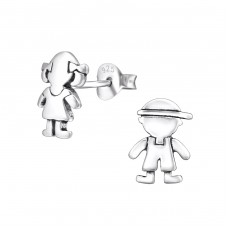 Boy And Girl - 925 Sterling Silver Ear Studs for kids A4S30747