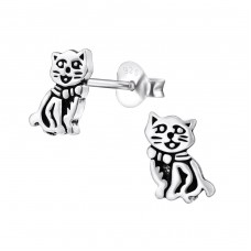 Cat - 925 Sterling Silver Ear Studs for kids A4S31010