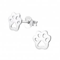 Paw Print - 925 Sterling Silver Ear Studs for kids A4S31737
