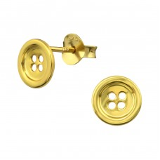 Button - 925 Sterling Silver Ear Studs for kids A4S31745