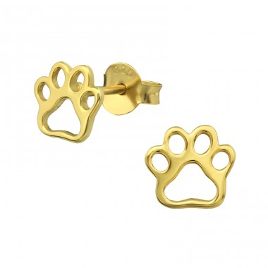 Paw Print - 925 Sterling Silver Ear Studs for kids A4S31748