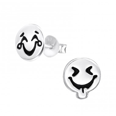 Happy Face - 925 Sterling Silver Ear Studs for kids A4S31927