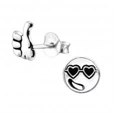 Cool Guy Face - 925 Sterling Silver Ear Studs for kids A4S31929