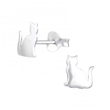 Cat - 925 Sterling Silver Ear Studs for kids A4S31987