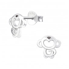 Monkey - 925 Sterling Silver Ear Studs for kids A4S32177