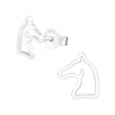 Horse - 925 Sterling Silver Ear Studs For Kids A4S32179