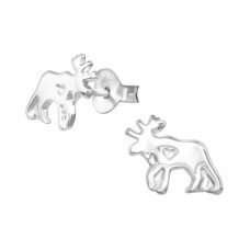 Moose - 925 Sterling Silver Ear Studs for kids A4S33603