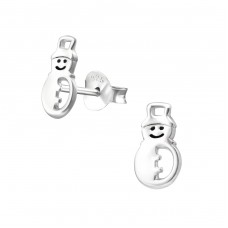 Snowman - 925 Sterling Silver Ear Studs for kids A4S33608