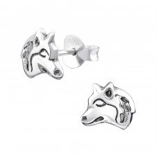 Wolf - 925 Sterling Silver Ear Studs for kids A4S33628