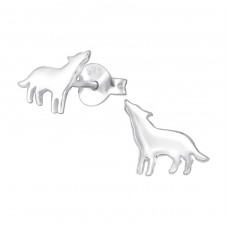 Wolf - 925 Sterling Silver Ear Studs for kids A4S34573