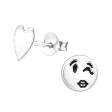 Wink Face And Heart - 925 Sterling Silver Ear Studs for kids A4S34843