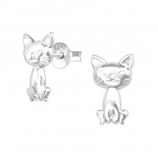Cat - 925 Sterling Silver Ear Studs for kids A4S38469