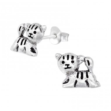 Tiger - 925 Sterling Silver Ear Studs for kids A4S39547