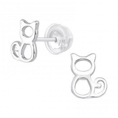Cat - 925 Sterling Silver Ear Studs for kids A4S40371