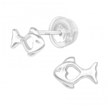 Fish - 925 Sterling Silver Plain Ear Studs A4S40372