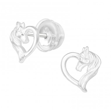 Horse Lover - 925 Sterling Silver Plain Ear Studs A4S40375