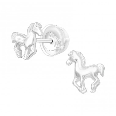 Horse - 925 Sterling Silver Ear Studs without stones A4S40376