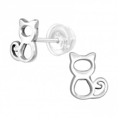 Cat - 925 Sterling Silver Ear Studs for kids A4S40400