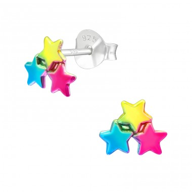 Multicolor Stars - 925 Sterling Silver Ear Studs For Kids A4S40905