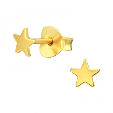 Golden Star - 925 Sterling Silver Ear Studs For Kids A4S41160
