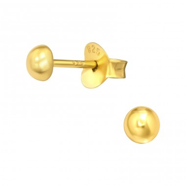 Golden Half Ball 3.5Mm - 925 Sterling Silver Ear Studs For Kids A4S41165