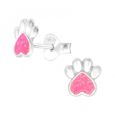 Pink Paw Print with glitter - 925 Sterling Silver Ear Studs For Kids A4S41503