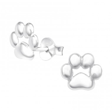 Paw Print - 925 Sterling Silver Ear Studs for kids A4S42030