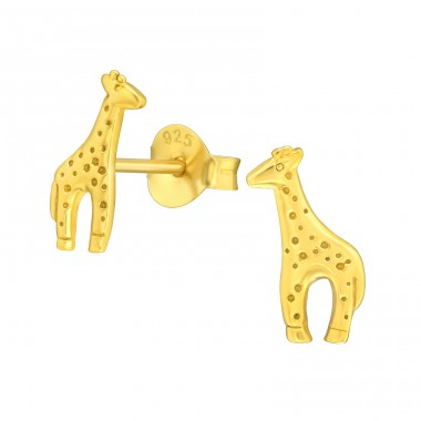 Golden Giraffe with dots - 925 Sterling Silver Ear Studs For Kids A4S42116
