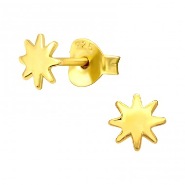Golden plain Star - 925 Sterling Silver Ear Studs Without Stones A4S42402