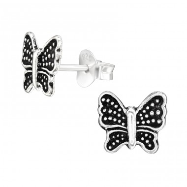 Antique Butterfly - 925 Sterling Silver Ear Studs Without Stones A4S42959