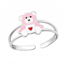 Teddy Bear Heart - 925 Sterling Silver Rings for kids A4S25199
