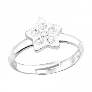 Star with crystals - 925 Sterling Silver Rings For Kids A4S41530