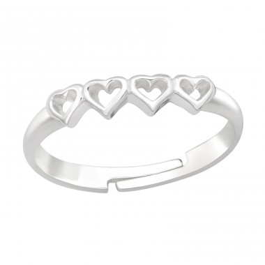 4x Hearts in line - 925 Sterling Silver Rings For Kids A4S41531