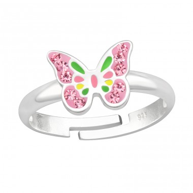 Pink Butterfly - 925 Sterling Silver Rings For Kids A4S41533