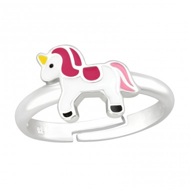 White and Pink Unicorn - 925 Sterling Silver Rings For Kids A4S41535