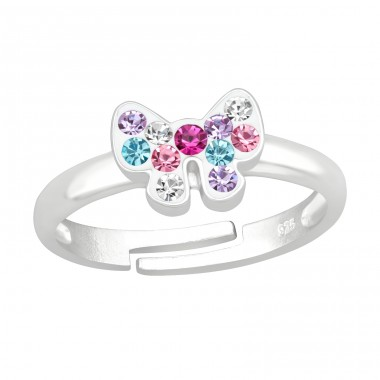 Multicolor Ribbon Bow - 925 Sterling Silver Rings For Kids A4S41537