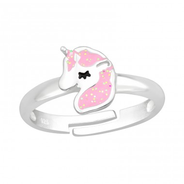 Pink Unicorn with glitter - 925 Sterling Silver Rings For Kids A4S41548