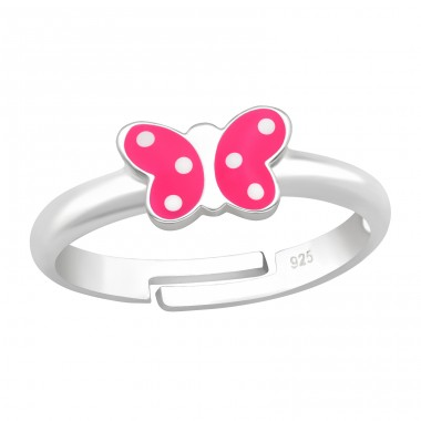Butterfly pink with white dots - 925 Sterling Silver Rings For Kids A4S41549