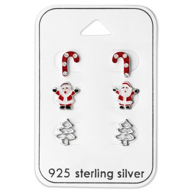 Candy Cane, Santa Claus, Christmas Tree - 925 Sterling Silver Jewellery sets for kids A4S28468