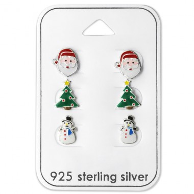 Santa Claus, Christmas Tree And Snowman Epoxy - 925 Sterling Silver Jewellery sets for kids A4S28469