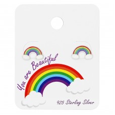 Rainbow Ear Studs On Cute Card - 925 Sterling Silver Jewellery sets for kids A4S34100