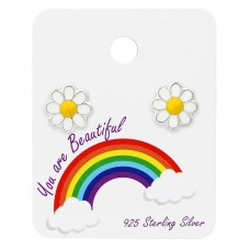 Daisy Ear Studs On Rainbow Card - 925 Sterling Silver Jewellery sets for kids A4S34101