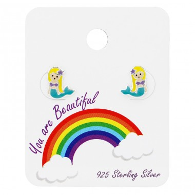 Mermaid Ear Studs On Rainbow Card - 925 Sterling Silver Jewellery sets for kids A4S34102