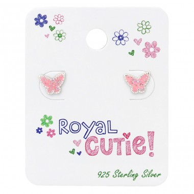 Butterfly Ear Studs On Royal Cutie Card - 925 Sterling Silver Jewellery sets for kids A4S34104