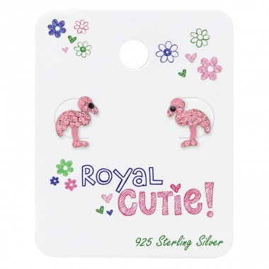 Flamingo Ear Studs On Royal Cutie Card - 925 Sterling Silver Jewellery sets for kids A4S34105