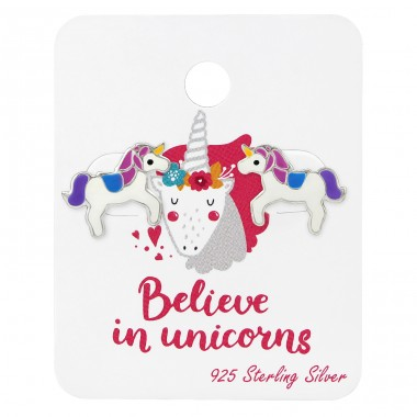 Unicorn Lover Ear Studs On Card - 925 Sterling Silver Jewellery sets for kids A4S34106