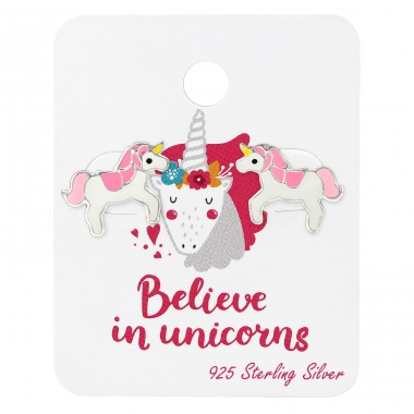Unicorn Lover Ear Studs On Card - 925 Sterling Silver Jewellery sets for kids A4S34107
