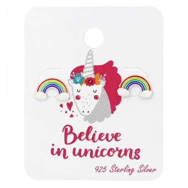 Rainbow Ear Studs On Unicorn Card - 925 Sterling Silver Jewellery sets for kids A4S34108