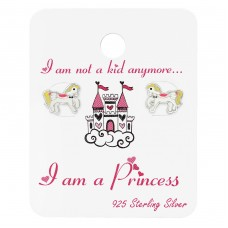 Pony Ear Studs On Princess Cards - 925 Sterling Silver Jewellery sets for kids A4S34109
