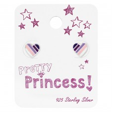 Colorful Heart Ear Studs On Princess Card - 925 Sterling Silver Jewellery sets for kids A4S34112